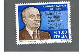 ITALIA REPUBBLICA  -   2008    A. FANFANI                     -   USATO  ° - 6. 1946-.. República