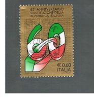 ITALIA REPUBBLICA  -   2008   60^ COSTITUZIONE                                   -   USATO  ° - 6. 1946-.. Repubblica
