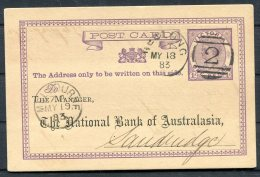 1883 Australia Victoria Stationery Postcard. National Bank Of Australia. Geelong Melbourne - 1850-1912 Victoria