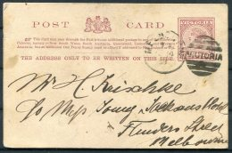 Australia Victoria QV 1d Stationery Postcard.  Melbourne - 1850-1912 Victoria