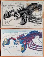 """2 CPA Guerre 14-18 """"L'Avance Allemande"""" Représentée Par Un Homard. 1 CPA Noir Blanc Signé MINOUVIS  Illustrateur - Oorlog 1914-18"""