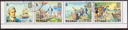 TUVALU 1979 SG #123-26 Compl.set Used In A Strip Of Four Captain Cook - Tuvalu