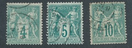 BZ-219: FRANCE: Lot Avec N°63-64-65 Obl - 1876-1878 Sage (Typ I)