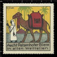 Large German Poster Stamp, Reklamemarke, Cinderella Vignette La Publicité Erinnofili Egypt Ägypten Pyramyd Camel Beer RR - Egittologia
