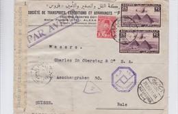 SOCIETE DE TRANSPORT, EXPEDITIONS ET ASSURANCES. EGYPTE A BALE, SUISSE. OPEN BY CENSOR. AVEC AUTRES MARQUES.-TBE-BLEUP - Egypte
