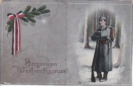 AK Herzinnigen Weihnachtsgruß - Deutscher Soldat - Fahne - Patriotika - Feldpost 1917 (34428) - Navidad