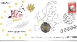 EURO FRANCE FDC ENVELOPPE PHILATELIQUE ET NUMISMATIQUE DU 1er JOUR D'éMISSION (A VOIR) - Frankrijk