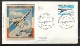 FDC Lettre  Illustrée Premier Jour Vol Concorde Toulouse 2/3/1969 Avec Poste Aérienne   N°43  TB Soldé à Moins 20 %! ! ! - Concorde