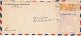 USA Air Mail Cover Sent To New York Great Falls Montana 16-5-1938 - United States