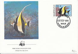 Maldives FDC 22-9-1986 WWF Cover FISH With Cachet Panda On The Stamp - FDC