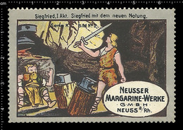 Old German Poster Stamp Cinderella Reklamemarke Erinnofili Publicité Vignette Richard Wagner Opera, Siegfried - Musica