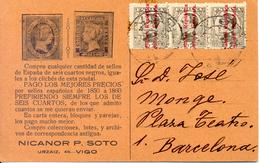 Filatelia Monge.Vigo A Barcelona 1932. Publicidad Filatelia Sobre Tarjeta. - 1931-Aujourd'hui: II. République - ....Juan Carlos I