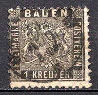 ALLEMAGNE - (BADE) - 1862 - N° 13 - 1 K. Noir - Bade