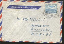 M) 1949 ČESKOSLOVENSKO, PLANE OVER BRATISLAVA CASTLE, AIR MAIL, CIRCULATED COVER FROM ČESKOSLOVENSKO TO MEXICO. - Czechoslovakia