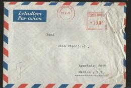 M) 1949 ČESKOSLOVENSKO, QUADRANGULAR SEAL PORTE OF 10, CIRCULAR SEAL WITH DATE,  AIR MAIL, CIRCULATED COVER FROM ČESKOSL - Czechoslovakia