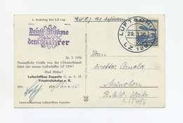 1936 3.Reich Zeppelin LZ 129 Deutschlandfahrt Auf Zeppelinfotokarte Bordpost Mit Seltenem Nebenstempel Si 402B - Deutschland