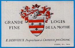 Etiquette Ancienne 16 CRITEUIL Près COGNAC Charente E. DERVIEUX Grande Fine Logis De La Mothe  * Héraldisme Armoiries - Labels