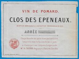 Etiquette Très Ancienne 21 Vin De POMARD Clos Des Epeneaux  (Pommard) Côte D'Or Bourgogne * Wine - Bourgogne