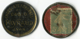 N93-0486 - Timbre-monnaie Rhum Chocolats Payraud - 5 Centimes - Kapselgeld - Encased Postage - Monedas / De Necesidad