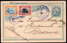 "Guatemala To Germany Postal Stationery + 2 Stamps 1905 ""Via Puerto Barrios"" - Guatemala"
