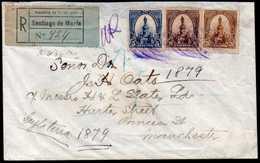 El Salvador To England Registered Cover 1904 Santiago De María To Manchester - El Salvador