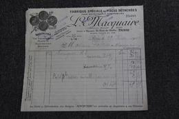 Facture Ancienne, PARIS - Pièces Détachées Motocycles Et Automobiles, L.MACQUAIRE. - Cars