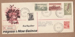 Papua New Guinea 1959 Registered FDC To Australia - Bulolo Registration Label - Papouasie-Nouvelle-Guinée