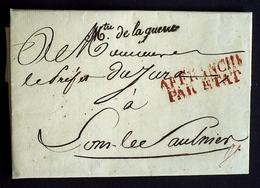 1826 France Lettre Franchise Mtre De La Guerre En Noir AA35 - Marcophilie (Lettres)
