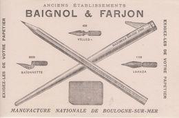 Buvard - Baignol & Farjon - Crayons - Plumes - Gommes - Manufacture De Boulogne Sur Mer - Blotters