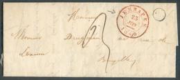 LAC De JEMMAPES Le 23 Juin 1849 (1 Semaine Avant L'affranchissement En Tp) + Boîte E Vers Bruxelles - 12733 - 1830-1849 (Belgique Indépendante)