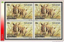 Zaire 1219** X4  10z Rhinoceros Blancs MNH - Buzin - Zaïre