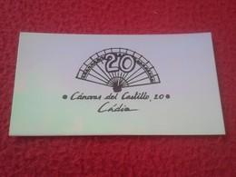 ANTIGUA TARJETA DE VISITA VISIT CARD PUBLICIDAD PUBLICITARIA O SIMIL 20 CÁNOVAS DEL CASTILLO CÁDIZ ESPAÑA SPAIN VER FOTO - Tarjetas De Visita