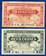 2 BONS REGION ECONOMIQUE ALGERIE 2FR Et 50CTS - Algeria