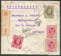 Affr. HOUYOUX à 2Fr.10 Obl. Sc GRIVEGNEE Sur Lettre Recommandée Du 21-V-1929 Vers Bressoux (biffé), Retour à L'envoyeur, - 1922-1927 Houyoux