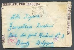 Lettre VERIFICATO PER CENSURA De TRENTO 18-VIII Vers Binche (Belgio) + Griffe Et Cercles 30/II, 161/II- 12747 - Italien