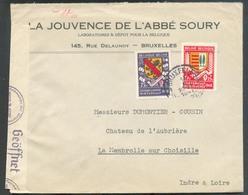 ARMOIRIES 1Fr. Et 0,75 Obl. Sc BRUXELLES 1 Sur Lettre Censurée Du 13-II-1941 (La Jouvence De L'Abbé SOURY) Vers La Membr - Guerre 40-45