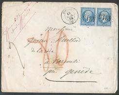 20c. NAPOLEON (paire) Obl. GC 4315 Sur Enveloppe De VIEILLE Le 12 Mars 1864 Vers Genève (CH) Via Grenoble, MACON A MONT- - 1862 Napoléon III
