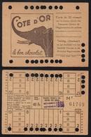 BRUXELLES - BELGIQUE/ 1950 CARTE DE 20 VOYAGES - PUBLICITE CHOCOLAT COTE D'OR (ref 1071) - Bus