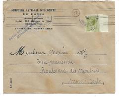 Lettre De  MONACO.TIMBRE N°105 Bord De Feuille.. SURCHARGE..AVEC Krag  RARE. 1929. - Monaco