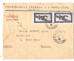 LETTRE D'INDOCHINE .PAR AVION.  .PA /PAIRE N°9... COMM FEDERAL D'EDUCATION.1931. Voi Scan - Indochine (1889-1945)