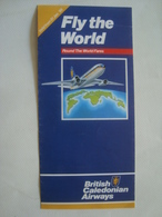 BRITISH CALEDONIAN AIRWAYS. FLY THE WORLD. ROUND THE WORLD FARES - 1986. TRI-FOLD. - Timetables