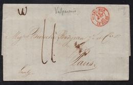 """POSTE MARITIME - VALPARAISO - CHILI / 1845 LAC POUR PARIS PAR """"LUNDY"""" & """"EDMOND"""" (ref 1441) - Posta Marittima"""
