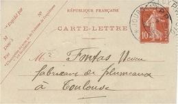 """1910- C P E P 10 C Semeuse Oblit.  Cad """" JOURNAUX P.P. / LA REOLE  """" - Marcophilie (Lettres)"""