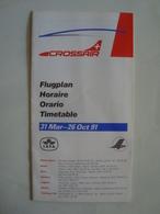 CROSSAIR. FLUGPLAN / HORAIRE / ORARIO / TIMETABLE - GERMANY, DEUTSCHLAND, 1991. - Timetables