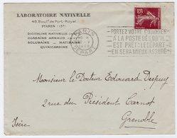 Enveloppe Entête Laboratoire Nativelle Flier Paris Départ 1928 - Postmark Collection (Covers)