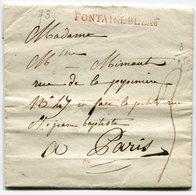 SEINE ET MARNE De FONTAINEBLEAU LAC Du 23/08/1813 écrite Par Le Peintre MARTIN Linéaire 51x10 Taxée 3 Pour PARIS - 1801-1848: Precursors XIX