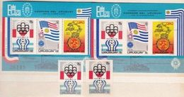 Uruguay 1975: EXFILMO & ESPAMER: Michel 1369-71+Block28+Block-Vignette Ungezähnt+1369 Ungezähnt (rar) ** MNH - Wereldkampioenschap