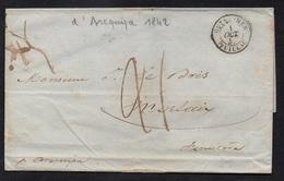 "POSTE MARITIME - AREQUIPA - PEROU / 1842 LAC POUR MORLAIX PAR ""AREQUIPA"" (ref 1594) - Storia Postale"