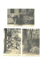 Carte Postale Paris Scènes Parisiennes (75) Chiffonniers - Marchand De Chiens - Marchande De Journaux  3 Cartes Repro - Petits Métiers à Paris