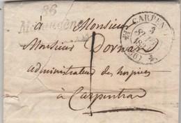Marque Postale Double Cursive 86 MALAUCENE CARPENTRAS ( Déchirure Et Carpentras Peu Marqué ) Vaucluse 3/9/1834 - Marcophilie (Lettres)
